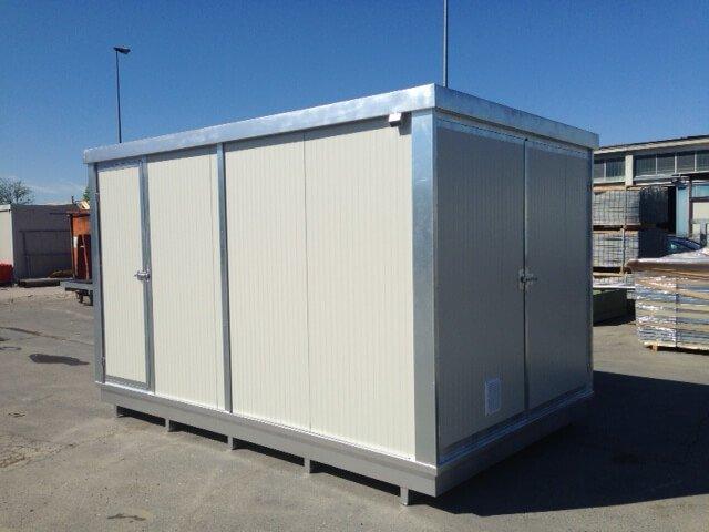 Container 4m mit Auffangwanne, gedämmt, mit zweiflügelige Tür