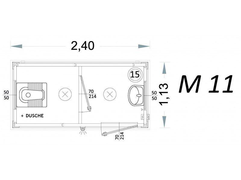 Fertigkabine 2x2 mit Dusche und Dampfbad