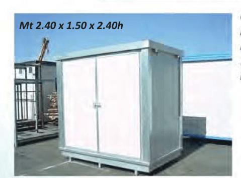Container 2m mit Auffangwanne, gedämmt, mit zweiflügelige Tür