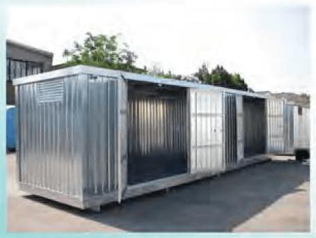 Container 8m mit Auffangwanne, nur verzinktes Blech, mit zweiflügelige Türen